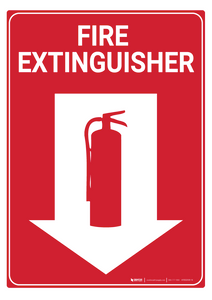 Fire Extinguisher (Arrow Down) - Rack Mounted Sign