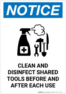 Notice: Clean And Disinfect Shared Tools with Icon Portrait - Wall Sign