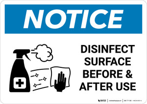 Notice: Disinfect Surface Before and After Use with Icon Landscape - Wall Sign