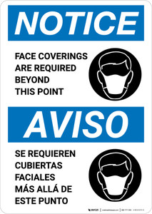 Notice: Face Coverings Required Beyond This Point Bilingual with Icon Portrait - Wall Sign