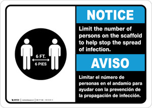 Notice: Limit Number Of Persons On Scaffold Bilingual with Icon Landscape - Wall Sign