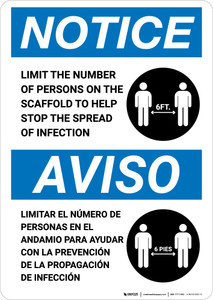 Notice: Limit Number Of Persons On Scaffold Bilingual with Icon Portrait - Wall Sign