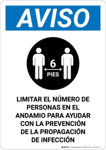 Notice: Limit Number Of Persons On Scaffold Spanish with Icon Portrait - Wall Sign