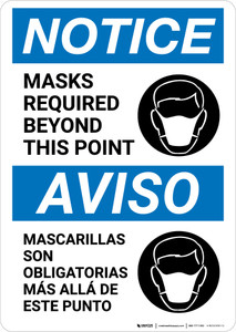 Notice: Masks Required Beyond This Point Bilingual with Icon Portrait - Wall Sign