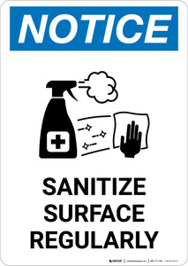 Notice: Sanitize Surface Regularly with Icon Portrait - Wall Sign