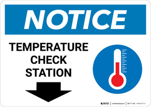 Notice: Temperature Check Station Down with Icon Landscape - Wall Sign