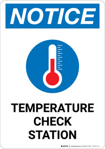 Notice: Temperature Check Station with Icon Portrait - Wall Sign