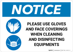Notice: Use Gloves And Face Coverings When Disinfecting with Icons Landscape - Wall Sign