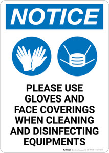 Notice: Use Gloves And Face Coverings When Disinfecting with Icons Portrait - Wall Sign