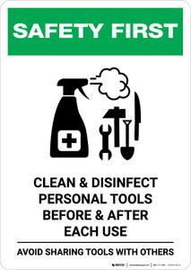 Safety First: Clean Disinfect Personal Tools Avoid Sharing with Icon Portrait - Wall Sign