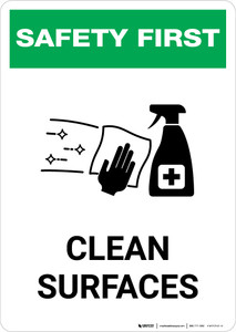 Safety First: Clean Surfaces with Icon Portrait - Wall Sign