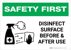 Safety First: Disinfect Surface Before and After Use with Icon Landscape - Wall Sign