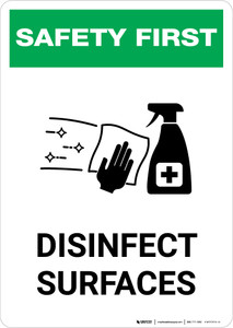 Safety First: Disinfect Surfaces with Icon Portrait - Wall Sign