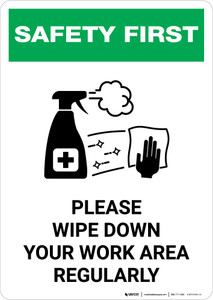 Safety First: Please Wipe Down Work Area with Icon Portrait - Wall Sign