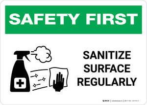 Safety First: Sanitize Surface Regularly with Icon Landscape - Wall Sign