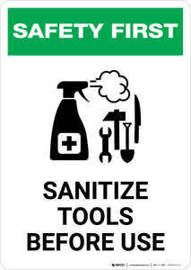 Safety First: Sanitize Tools Before Use with Icon Portrait - Wall Sign