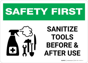 Safety First: Sanitize Tools Before and After Use with Icon Landscape - Wall Sign