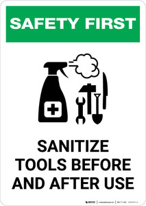 Safety First: Sanitize Tools Before and After Use with Icon Portrait - Wall Sign