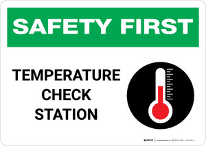 Safety First: Temperature Check Station with Icon Landscape - Wall Sign