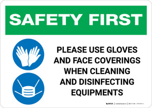 Safety First: Use Gloves And Face Coverings When Disinfecting with Icons Landscape - Wall Sign