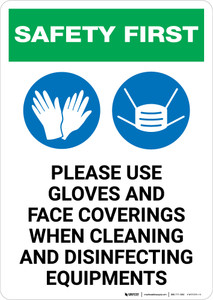 Safety First: Use Gloves And Face Coverings When Disinfecting with Icons Portrait - Wall Sign