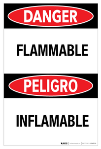 Danger - Flammable Bilingual (Spanish)  - Wall Sign
