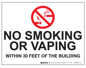 No Smoking/Vaping Within 30 Feet - Wall Sign