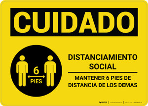 Caution: Social Distancing 6ft. Spanish with Icon Landscape - Wall Sign