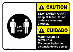 Caution: Stay Safely Apart Bilingual with Icon ANSI Landscape - Wall Sign