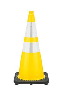 "JBC™ 28"" Yellow PVC Revolution Series Traffic Cone with Reflector"