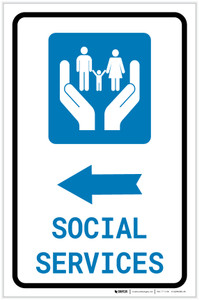 Social Services Left Arrow with Icon Portrait v2 - Label