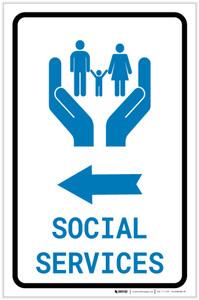 Social Services Left Arrow with Icon Portrait - Label
