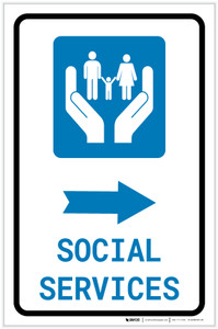 Social Services Right Arrow with Icon Portrait v2 - Label
