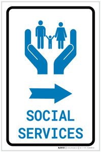 Social Services Right Arrow with Icon Portrait - Label