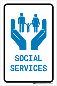Social Services with Icon Portrait - Label