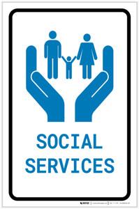 Social Services with Icon Portrait - Label