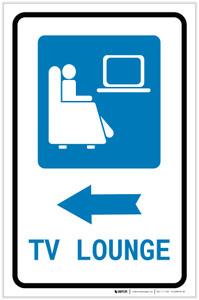 TV Lounge Left Arrow with Icon Portrait v2 - Label