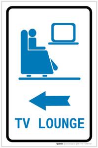 Tv Lounge Left Arrow with Icon Portrait - Label