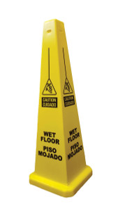 "Cortina - 36"" Yellow Bilingual (Spanish) Wet Floor Caution Lamba Cone"