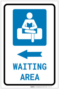 Waiting Area Left Arrow with Icon Portrait v2 - Label
