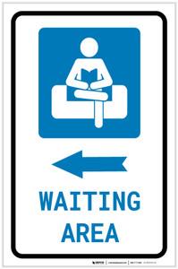 Waiting Area Left Arrow with Icon Portrait v2 - Label
