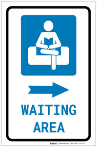 Waiting Area Right Arrow with Icon Portrait v2 - Label