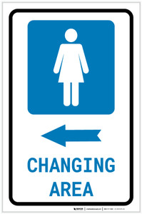 Womens Changing Area Left Arrow with Icon Portrait v2 - Label
