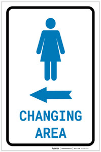Womens Changing Area Left Arrow with Icon Portrait - Label