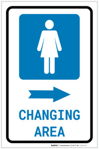 Womens Changing Area Right Arrow with Icon Portrait v2 - Label