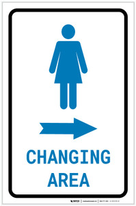 Womens Changing Area Right Arrow with Icon Portrait - Label