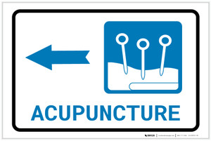 Acupuncture Left Arrow with Icon Landscape - Label