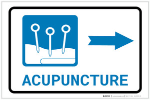 Acupuncture Right Arrow with Icon Landscape - Label