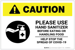Caution: Please Use Hand Sanitizer - Before Eating or Handling Food with Icon Landscape - Label