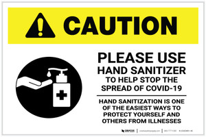 Caution: Please Use Hand Sanitizer - Hand Sanitization with Icon Landscape - Label